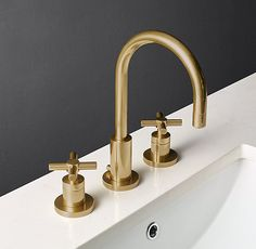 """RH's Sutton Cross-Handle 8"""" Widespread Faucet:Sleek lines and a modern sensibility define our solid brass collection for the bath."""
