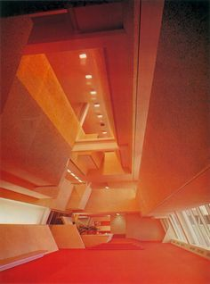 Main lobby of Burroughs-Wellcome Headquarters, Research Triangle Park, NC by paulrudolph   1972