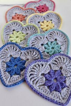 Heart in Bloom Motif Crochet pattern by Mikaela Bates - Granny Square Crochet Motifs, Crochet Squares, Crochet Granny, Crochet Stitches, Knit Crochet, Crochet Patterns, Crochet Owls, Crochet Blocks, Stitch Patterns