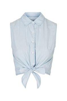 **Chambray Cropped Shirt by Glamorous Petites