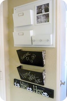 Organization...for all those misc school papers. Love the chalkboard idea (again!) for appts, sporting events etc.