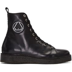McQ Alexander Mcqueen Black Chris High-Top Sneakers ($565) ❤ liked on Polyvore featuring men's fashion, men's shoes, men's sneakers, black, mens black high top shoes, mens high top sneakers, mens black sneakers, mens black shoes and mens black high top sneakers