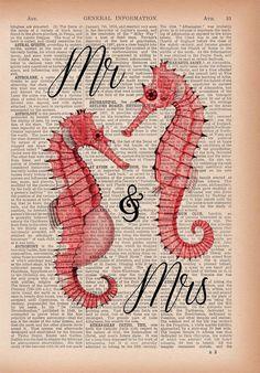 Mr and Mrs Sea Horse Wedding Book Print Sea horse on by PRRINT