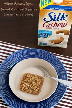 Maple Brown Sugar Baked Oatmeal Squares with Silk Cashewmilk. Soft and chewy baked oatmeal squares, in perfect portions for snack-time. Gluten-free, dairy-free and peanut-free, making them a great choice for breakfast or school snacks! Best Gluten Free Recipes, Gluten Free Baking, Thm Recipes, Maple Brown Sugar Oatmeal, Oatmeal Squares, Oatmeal Packets, Breakfast Snacks, Breakfast Ideas, Breakfast Recipes
