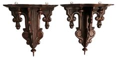 Antique Black Forest Wall Brackets, Pair - Italian Influence - Vintage Styles - Vintage One Kings Lane Antique Wall Decor, Wall Brackets, Black Forest, Kings Lane, Decorative Items, Vintage Fashion, Chandelier, Ceiling Lights, Antiques