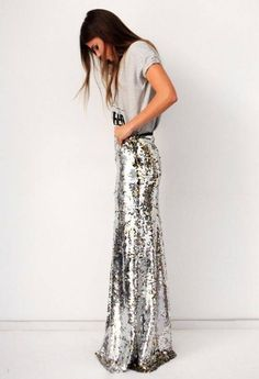 Maxi Sequins Skirt  #Maxi Sequins Skirt #Maxi Sequins Skirt Outfit Ideas #Where Can I Buy a Maxi Sequins Skirt #Silver sequins Skirt #Maxi Sequins Skirt Outfit Ideas #Grey Print tee #Brunette #Young Girl Spring Outfit