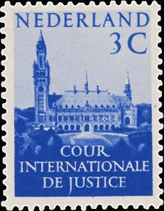 Марка: Peace Palace, The Hague (Нидерланды) (International Court of Justice) Mi:NL The Hague Netherlands, International Court Of Justice, Peace, Stamps, Cards, Seals, Postage Stamps, Map, World