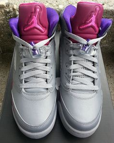 5119a7c4c9a8 Cement Grey Air Jordan 5 Retro GS 2018 Spring Summer Pink Flash Raspberry  Red Electric Purple