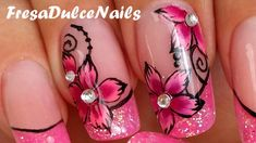 I show you on this videos how to make acrylic nails marble effect and how to create a rose. I hope you like this pink and girly manicure. Flower Nail Designs, Acrylic Nail Designs, Marble Acrylic Nails, 3d Rose, Prego, Simple Girl, Glitter Nail Art, Stylish Nails, Flower Nails