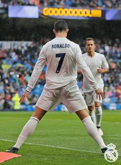 Cristiano Ronaldo of Real Madrid celebrates after scoring the opening goal during the La Liga match between Real Madrid CF and Real Sporting de Gijon at Estadio Santiago Bernabeu on November Get premium, high resolution news photos at Getty Images Cristiano Ronaldo 7, Cristiano Ronaldo Celebration, Cristiano Ronaldo Wallpapers, Messi And Ronaldo, World Best Football Player, Football Is Life, Messi Vs, Lionel Messi