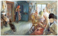 Peasant Interior in winter -  Artist: Carl Larsson Completion Date: 1890 Place of Creation: Sweden Style: Art Nouveau (Modern) Genre: interior Technique: watercolor Material: paper
