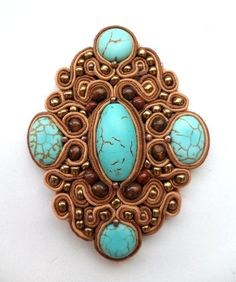 Soutache Turquoise brooch with wooden beads and seed beads Soutache embroidery.