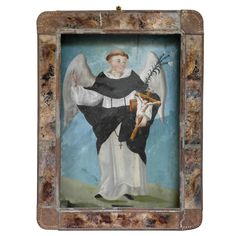 San Vicente 19th Century Mexican Retablo  Mexico  circa 1880  San Vicente patron saint of carpenters.