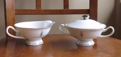 Syracuse China POLARIS Atomic Silver Star Creamer & Sugar Bowl MINT cond USA #Syracusechina
