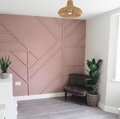DIY Geometric Wall Panelling in Sulking Room Pink Home Decor Inspiration, House Design, Accent Wall Bedroom, House, Interior, Home Decor, House Interior, Home Interior Design, Wall Paneling