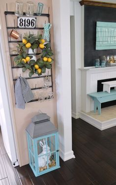 Kitchen: Skinny Wall Decorating Idea - Farmhouse Drying Rack.  foxhollowcottage.com from How To Fake a Foyer