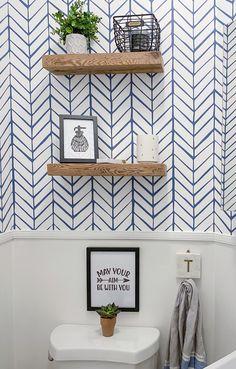 Half Bathroom Wallpaper, Half Bathroom Decor, Powder Room Wallpaper, Floating Shelves Bathroom, Print Wallpaper, Lotus Wallpaper, Simple Bathroom, Bathroom Ideas, Powder Room Decor