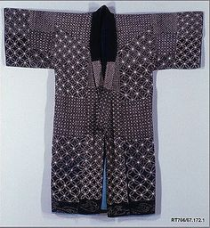 Sashiko Kimono.  Period: Meiji period (1868–1912). Date: 19th century. Culture: Japan. Medium: Indigo-dyed plain-weave cotton, quilted and embroidered with white cotton thread. Dimensions: Overall: 51 1/8 x 49 1/2 in. (129.9 x 125.7 cm).