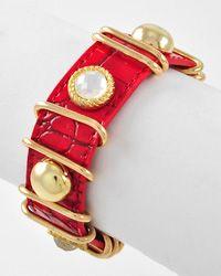 Gold Tone / Red Animal Print / 2 Size Snap Button   Bracelet