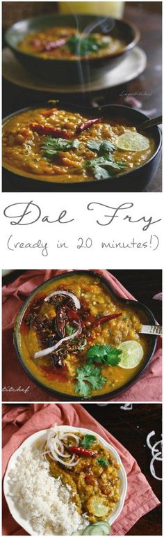 Dal (lentil) fry is a delicious and sumptuous bowl of health that's a daily dish in most Indian homes. This dal fry recipe uses chana dal or split Bengal grams is a thicker and more delicious version Veg Recipes, Indian Food Recipes, Asian Recipes, Vegetarian Recipes, Cooking Recipes, Healthy Recipes, Indian Dal Recipe, Palak Paneer, Dal Fry