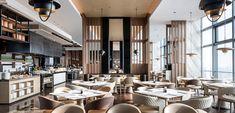 Restaurant 2, Luxury Restaurant, Restaurant Interior Design, Hotel Architecture, Marriott Hotels, Open Kitchen, Ceiling Design, Banquet, Counter