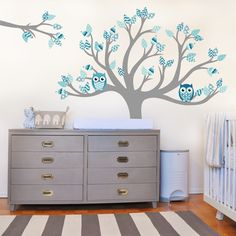 www.vinylimpression.co.uk Tree with pattern leaves with matching owls. These patterns have nautical themed pattern leaves