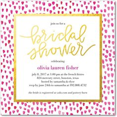 Dotted Bride - Signature White Textured Bridal Shower Invitations in Fuchsia or Blue Moon | Alexis Mattox Design