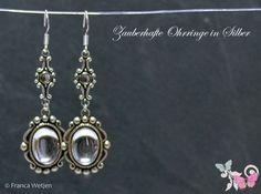 Ohrhänger - Ohrhänger klar Silber Art Deco Stil oval lang - ein Designerstück von Zauberhafte-Ohrringe-in-Silber bei DaWanda