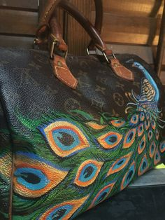 Vintage hand painted Louis Vuitton peacock by TalkingSnake27