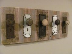 *Use Vintage Door knobs and plates for a hanging rack!