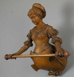 impressive carved wood lady towel holder ca. 1880