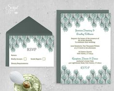 "Peacock Feather Wedding Invitation Template | 1920's Gatsby Style | INSTANT Download | Vintage Green | Word or Pages Pc & Mac | 5""x7"""