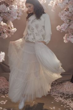 Needle and Thread Dresses and Accessories Featuring Tulle and Sequins White Wedding Dresses, Bridal Dresses, Maxi Skirt Fall, Needle And Thread Dresses, Sequin Midi Dress, Tulle Bows, Vintage Bridal, Bridal Collection, Ball Gowns