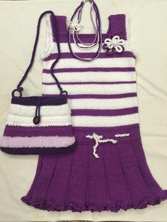 Вязание спицами для детей. Платье для девочки 7-ми лет. Пряжа - 100% хлопок. Дополнительно - аксессуары. Handmade, Hand Made, Craft