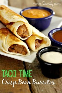 These Taco Time crisp bean burritos are a great finger-food -- perfect for a quick lunch! Typically they are fried but I like them just as well when baked!