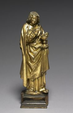 Saint John the Evangelist, 1450-1475 South Netherlands, probably Malines, 15th century gilt bronze or brass, without base: 29.85 x 11.80 cm