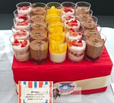 Strawberry Mousse Shortcake, Chocolate Mousse and Passion Peach Panna Cotta
