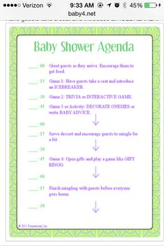 Baby Shower Itinerary