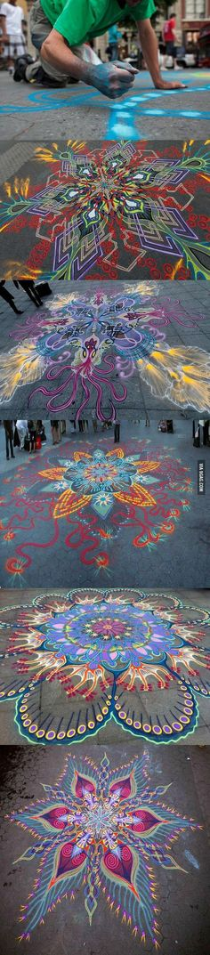 Beautiful sand paintings created by hand.
