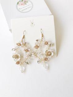 Bridal chandelier earrings Hoop earrings Flower earrings floral earrings wedding earrings bridal accessories wedding accessories by ABitofLoveWedding on Etsy Ear Jewelry, Cute Jewelry, Wedding Jewelry, Jewelery, Jewellery Box, Jewellery Shops, Bridesmaid Jewelry, Bridesmaid Gifts, Wedding Hair