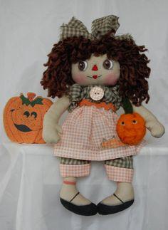 Reserve--Primitive Folk Art My little Pumpkin Raggedy Annie doll ooak handmade---Reserve. $45.00, via Etsy.