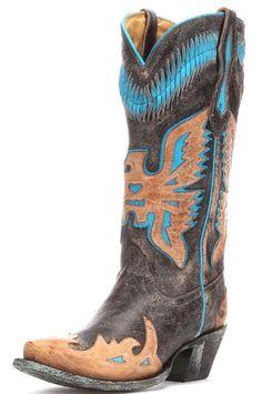 Corral Black & Turquoise Cowboy Boots | Horses & Heels