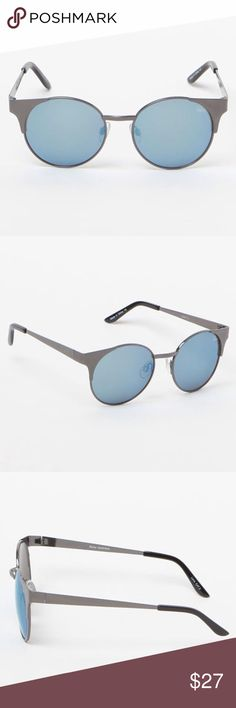 Quay Asha Mirrored Blue Sunglasses, NWT Cute retro cats-eye sunglasses with blue mirrored lenses and gunmetal gray frame and arms. Nickel free metal frame - Polycarbonate lens - Stainless steel hinges - 100% UV protection. Width: 150mm, Height: 55mm, Nose Gap: 8mm.   Brand new, never worn.  From a smoke-free cat-free home. Quay Australia Accessories Sunglasses