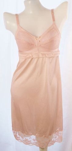 Wacoal Ladies pink full slip bra slip dress size 32B no.078 #Wacoal #FullSlipsgown $19.50