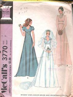 BRIDAL BRIDESMAID DRESS SEWING PATTERN 70s MCCALLS 3770 SZ 7 BUST 31 HIP 33 CUT