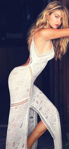 White lace geo maxi dress