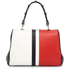 Prada Baiadera Arcade-Stripe Leather Satchel Bag ($3,300) ❤ liked on Polyvore featuring bags, prada, coin purse, leather satchel, leather satchel bag, white satchel handbags and white leather bag
