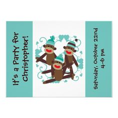 Boys Customized Boy Sock Monkey 5x7 Invitations
