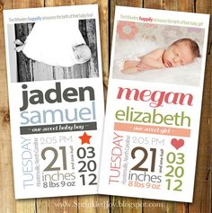 Newborn Stats Birth Announcement, Size 4x8 - PRINTABLE file. Cute!