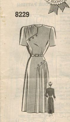 RESERVED 1940s Mail Order 8229 Vintage Sewing by midvalecottage, $16.00